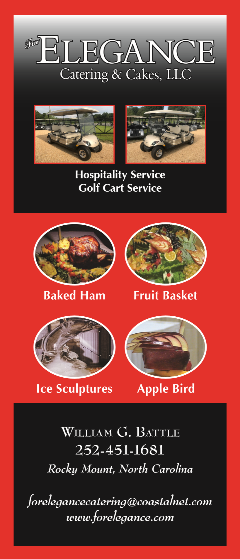 Flyers from For Elegance Catering in Rocky Mount, NC